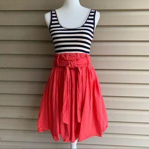 •THEME• Stripe Knit Top/Full Skirt Dress - Size Sm